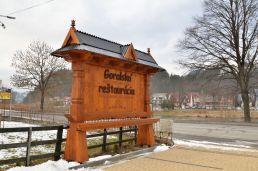 Drevený reklamný pútač Reštaurácia